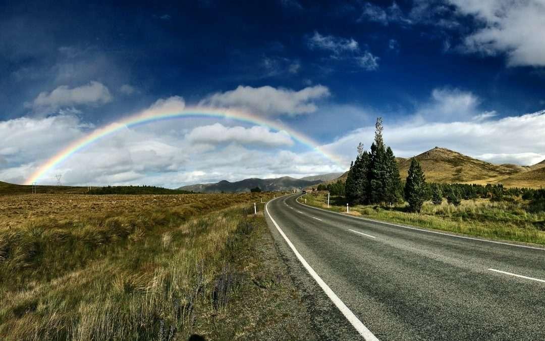 Rainbow and roadway