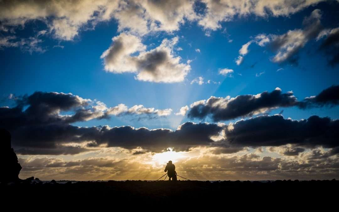 Man alone in sunset